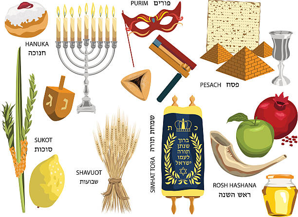 jewish holidays icons israeli holidays - purim stock illustrations, clip art, cartoons, & icons