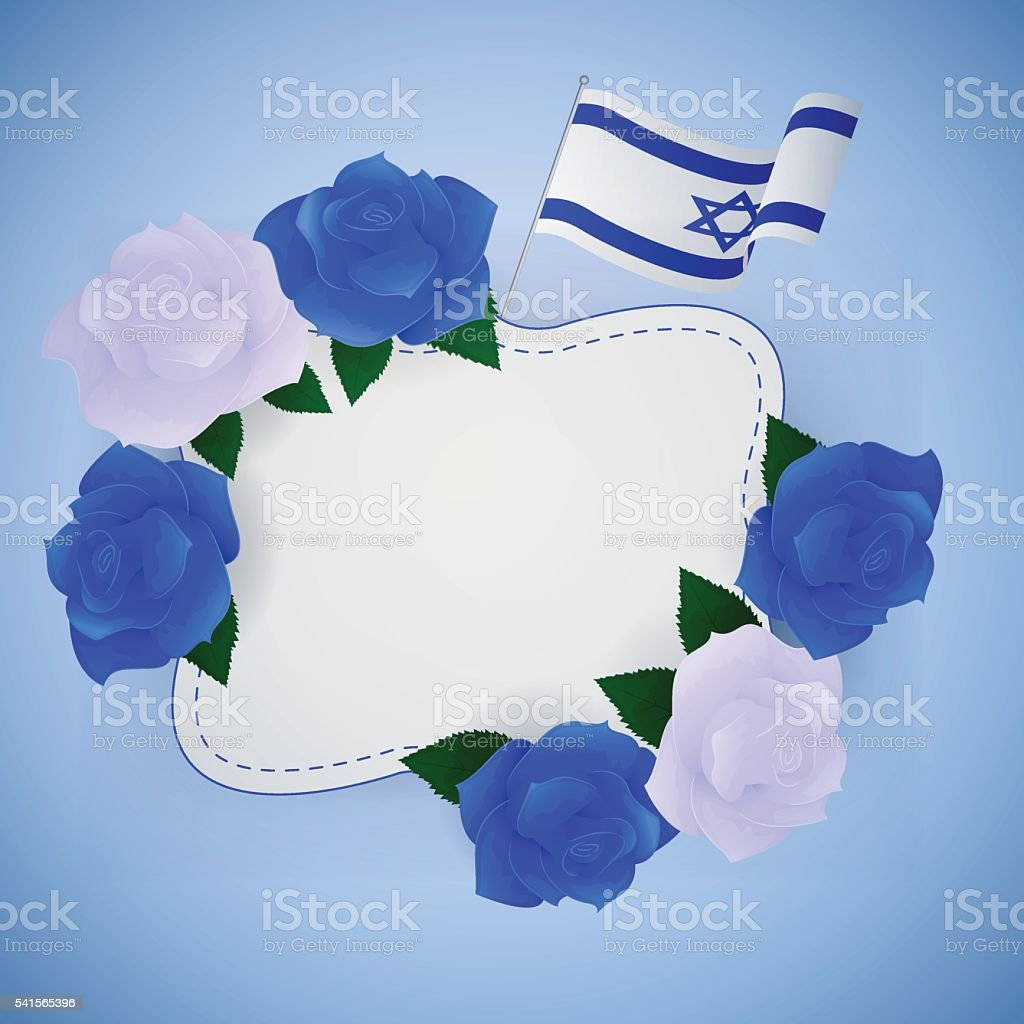 Jewish israel background with roses. vector art illustration