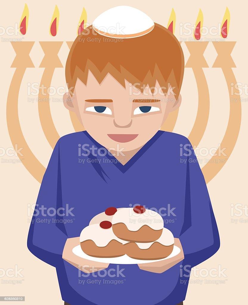 Jewish Kid With Sufganiyot Hanukkah Greetings Stock Vector Art