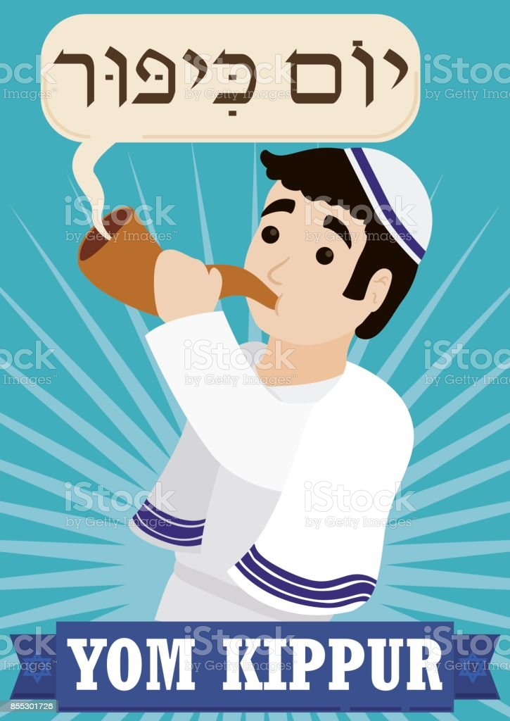 Jewish Man Blowing a Shofar to Celebrate Yom Kippur vector art illustration