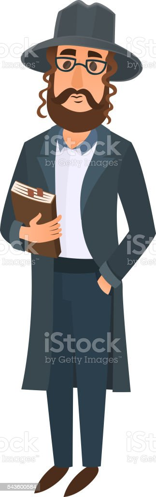 Jewish man vector illustration. vector art illustration