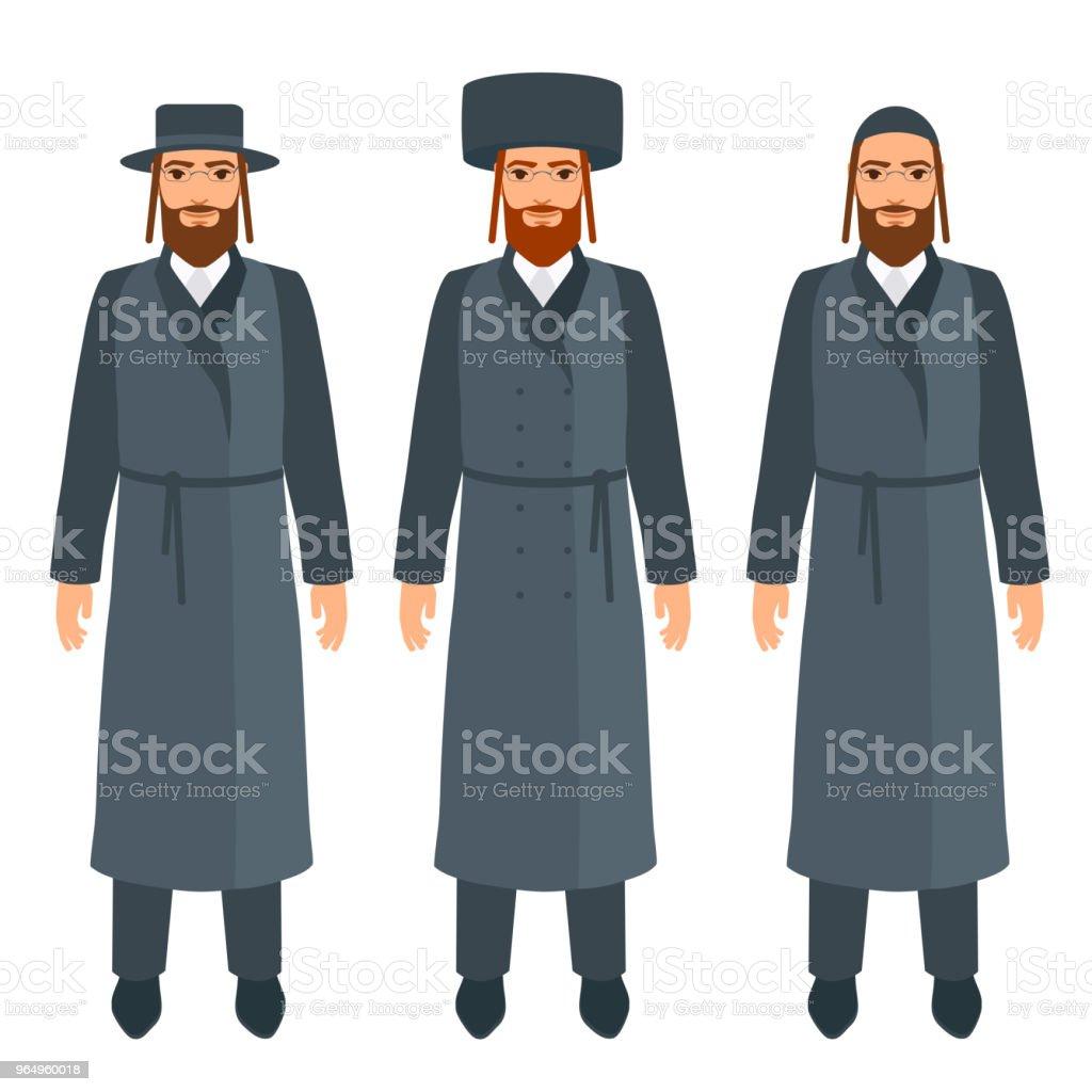 Jüdische Männer Inmitten Traditioneller Religiöser Kleidung Und ...