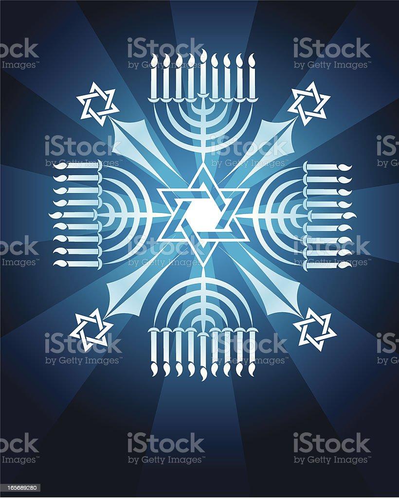 Jewish Menorah Snowflake with Star of David Background royalty-free stock vector art