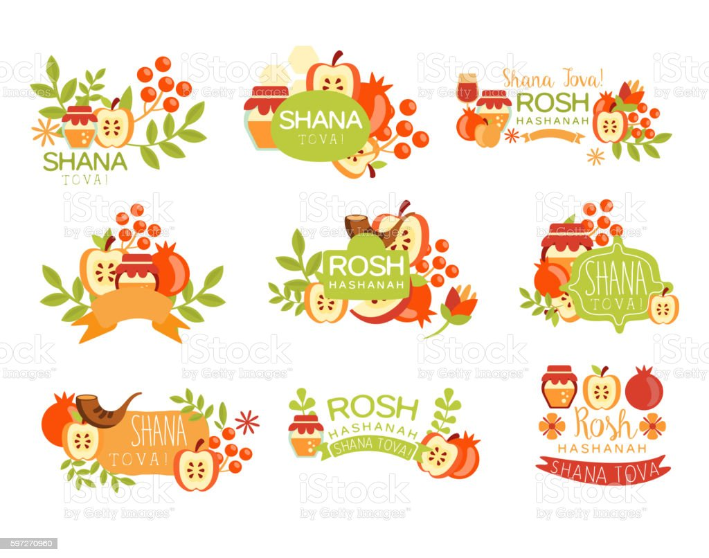 Jewish New Year Bright Postcard Labels Set vector art illustration
