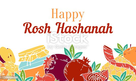 istock Jewish new year Rosh Hashanah design template with traditional objects and food on the bottom of the page. Title in Hebrew Head of the year. Hand drawn vector sketch illustration 1266684496