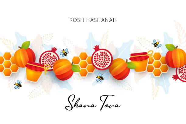 猶太新年,羅什·哈沙納賀卡。用剪紙蘋果、石榴、蜂蜜細胞、蜂蜜罐和蜜蜂製成的邊框的向量插圖 - rosh hashana 幅插畫檔、美工圖案、卡通及圖標