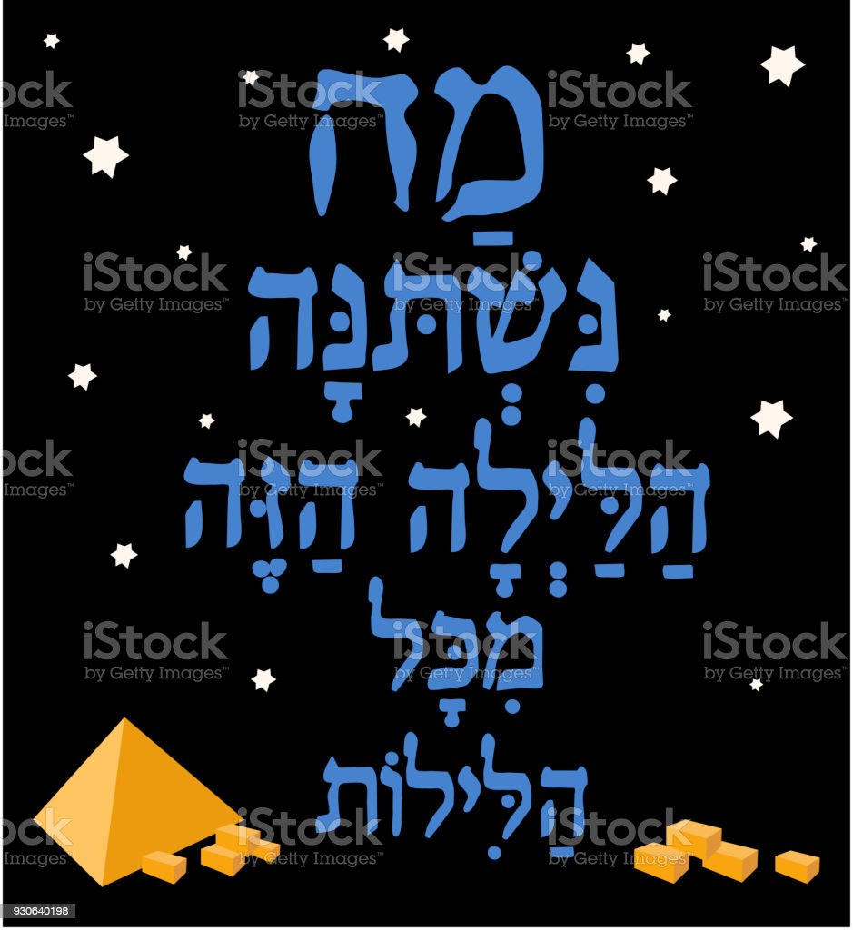 Jewish Passover , Hebrew Text - 'What has changed on this night', Poster  with  holiday greeting in hebrew vector art illustration