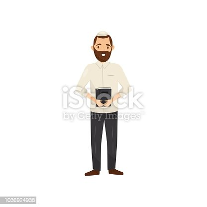 Jewish Rabbi character, religion representative vector Illustration isolated on a white background.
