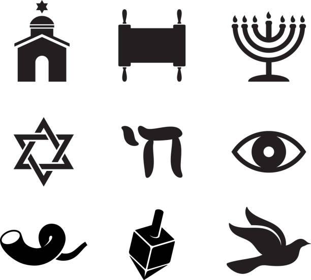 jewish dewocjonalia czarno-białe wektor zestaw ikon - judaizm stock illustrations