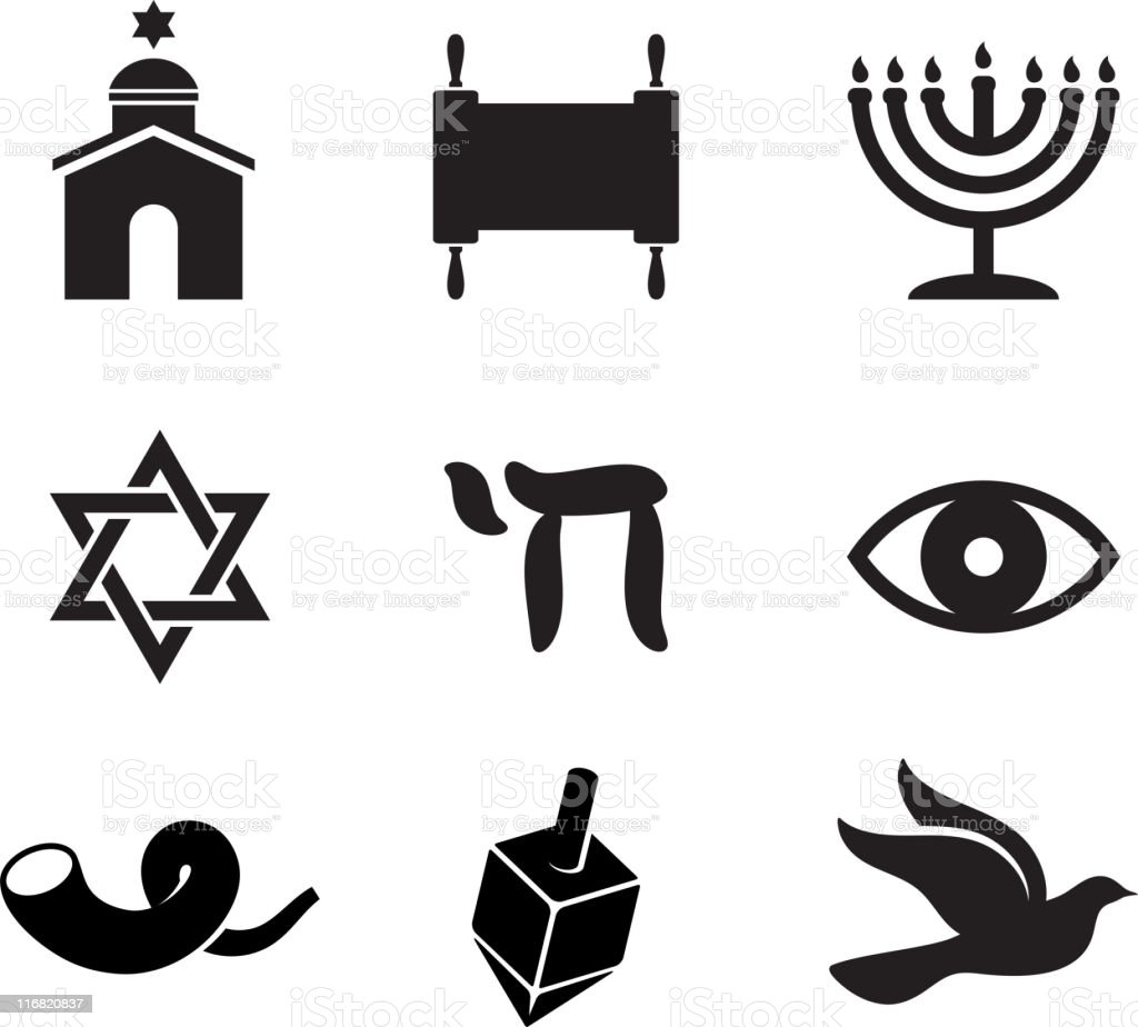 Jewish religious items black and white vector icon set vector art illustration