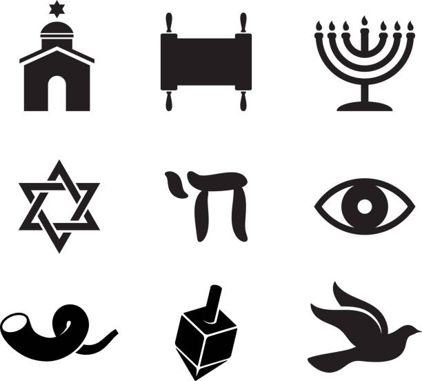 Jewish religious items black and white vector icon set  judaism stock illustrations