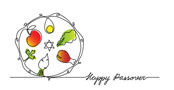 Jewish seder plate, dish with meal. Happy passover lettering, holiday pesach. Vector illustration Jewish seder plate, dish with meal. Happy passover lettering, holiday pesach. Vector illustration of traditional pesach food on the plate. One continuous line drawing. passover stock illustrations