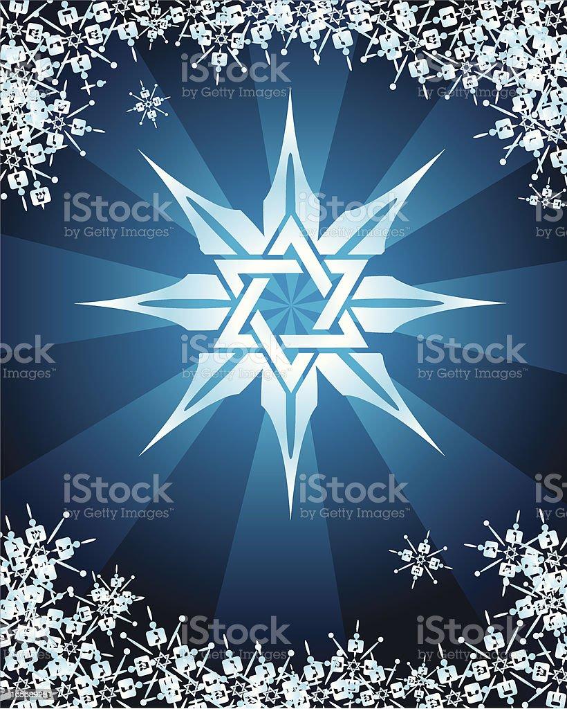 Jewish Star of David Snowflake with Dreidels Background royalty-free stock vector art