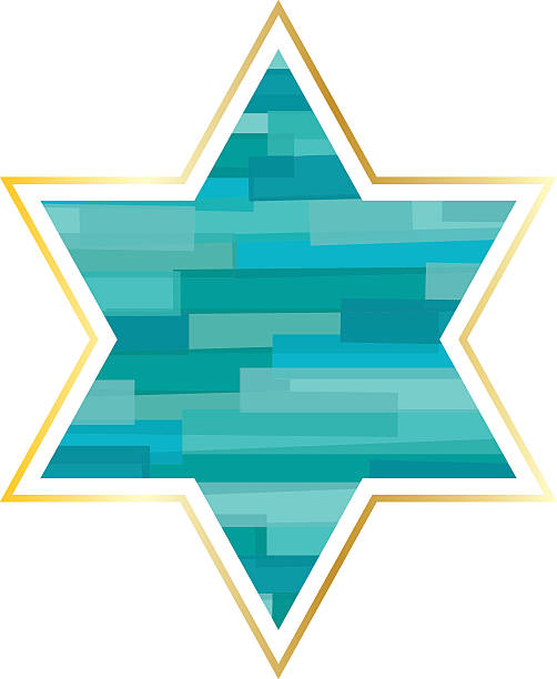 jewish star with gold frame - passover stock illustrations, clip art, cartoons, & icons