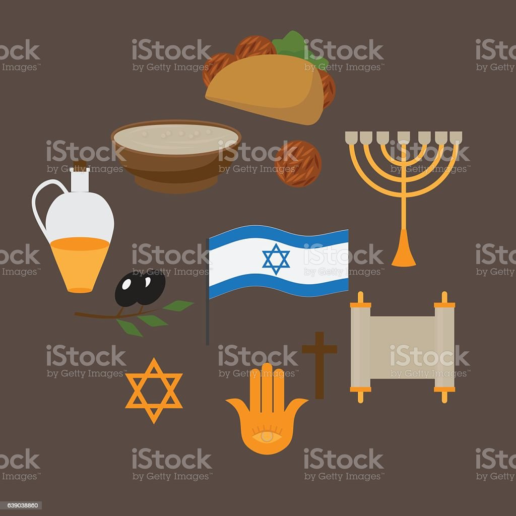 Jewish Symbols And Food Israel Religios Judaism Objects Stock Vector