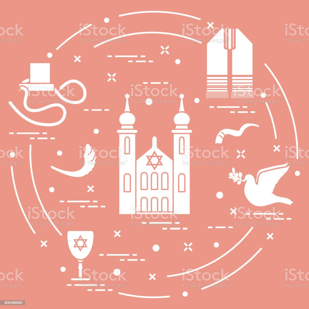 Jewish Symbols Tfillin Synagogue Sheeps Horn Stock Vector Art More