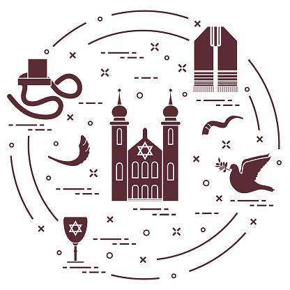 Símbolos judíos: tfillin, Sinagoga, cuerno de oveja