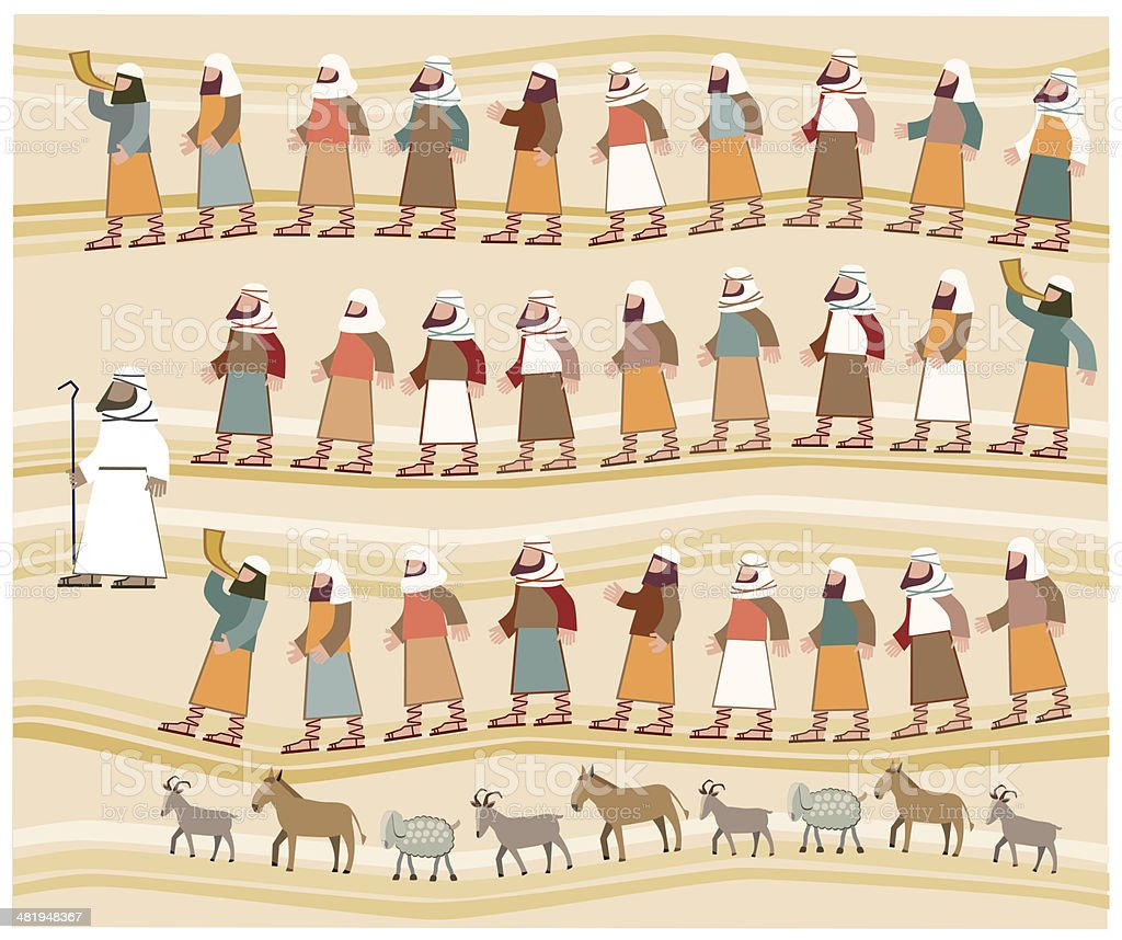 Jews Walking in the Desert, Passover Illustration royalty-free jews walking in the desert passover illustration stock vector art & more images of animal