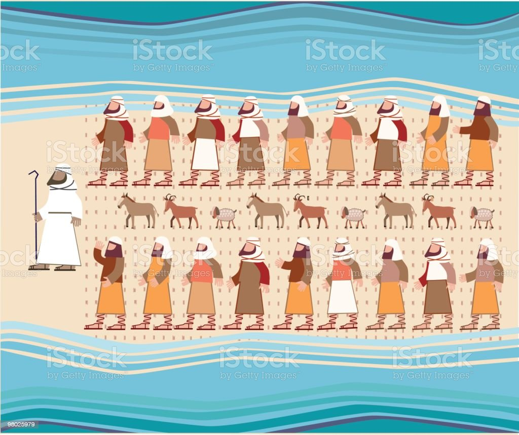 Jews Walking Through the Parted Red Sea, Passover Illustration royalty-free stock vector art