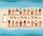 Jews Walking Through the Parted Red Sea, Passover Illustration