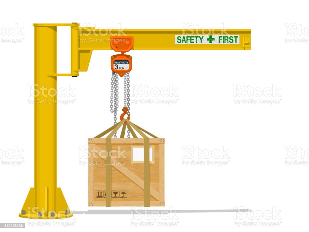 Jib crane with wooden crate vector art illustration