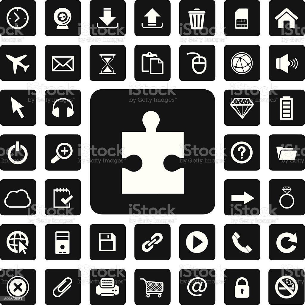 jigsaw and technology icon set vector art illustration
