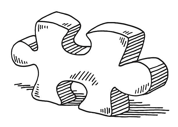 Jigsaw Piece Drawing Hand-drawn vector drawing of a Jigsaw Piece. Black-and-White sketch on a transparent background (.eps-file). Included files are EPS (v10) and Hi-Res JPG. game stock illustrations