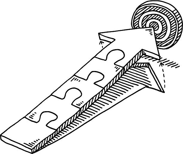 Jigsaw Pieces Arrow Target Drawing Hand-drawn vector drawing of an Arrow built from Jigsaw Pieces. The Arrow moved upwards to hit the Target. Black-and-White sketch on a transparent background (.eps-file). Included files are EPS (v10) and Hi-Res JPG. game stock illustrations