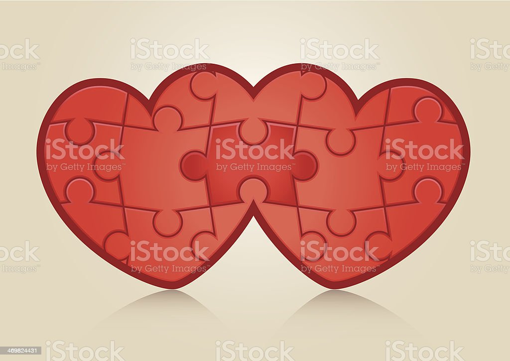 Jigsaw pussle hearts. royalty-free stock vector art