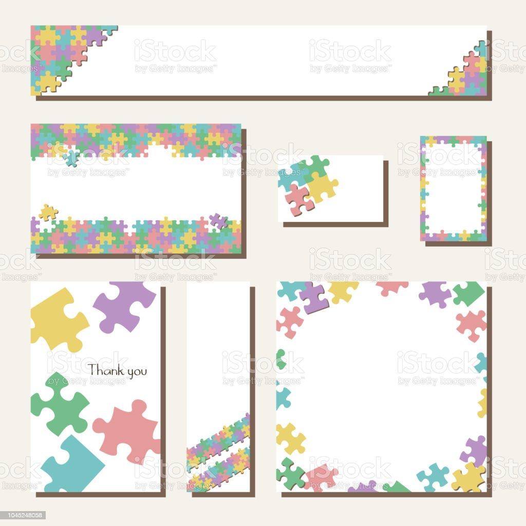 jigsaw puzzle banner design card design template stock vector art
