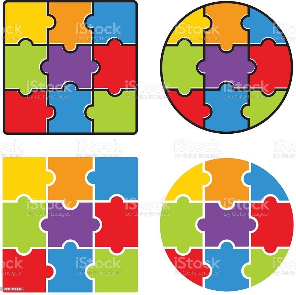 Jigsaw Puzzle Blank Simple Template 3 X Nine Pieces Vector Royalty