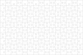 Jigsaw puzzle blank template or cutting guidelines of 150 transparent pieces, landscape orientation, and visual ratio 3:2. Pieces are easy to separate (every piece is a single shape).