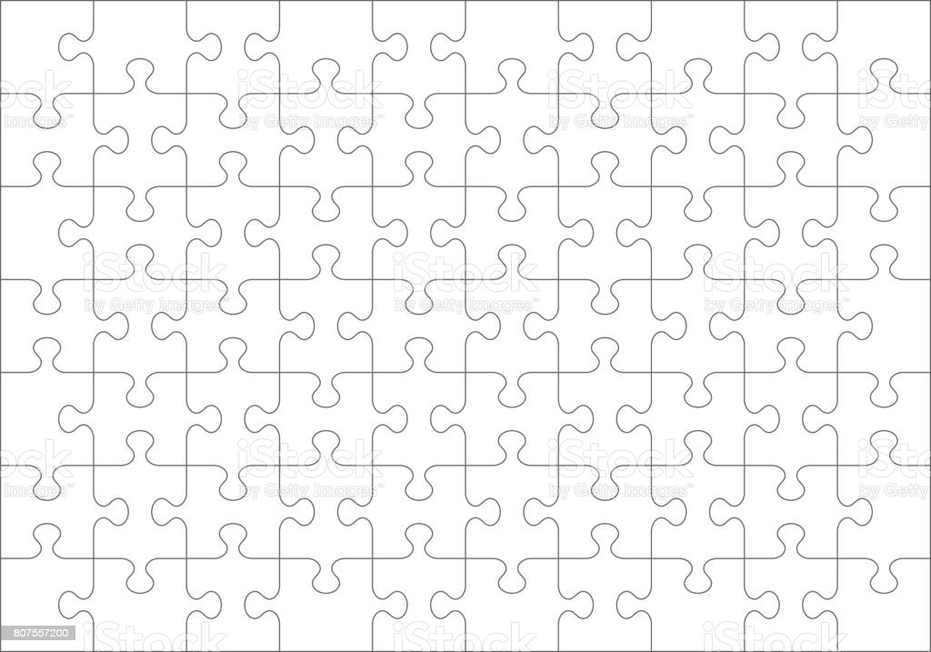 Jigsaw puzzle blank template of 70 pieces vector art illustration