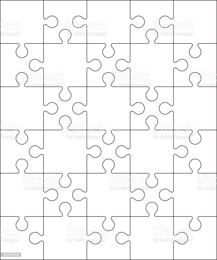 30 のジグソー パズルの空白テンプレートまたは切削ガイドライン 56 の