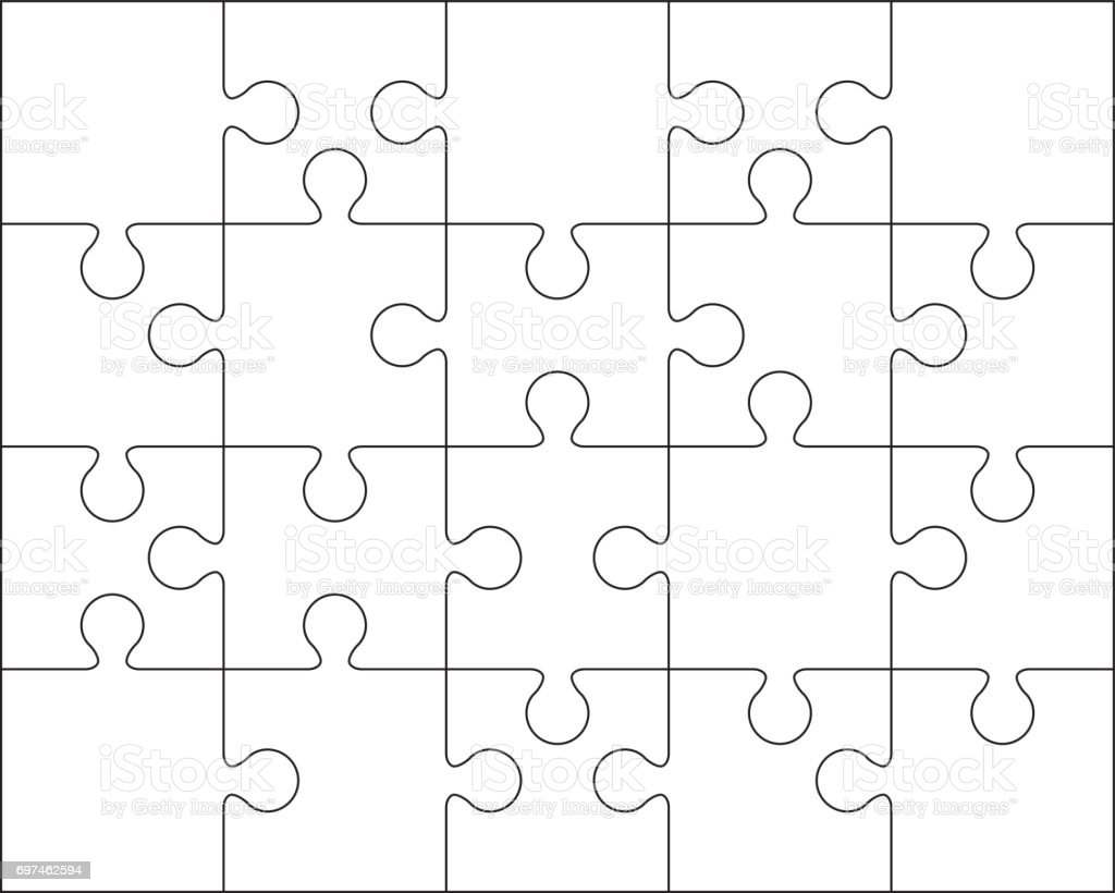 20 jigsaw puzzle blank template or cutting guidelines stock vector