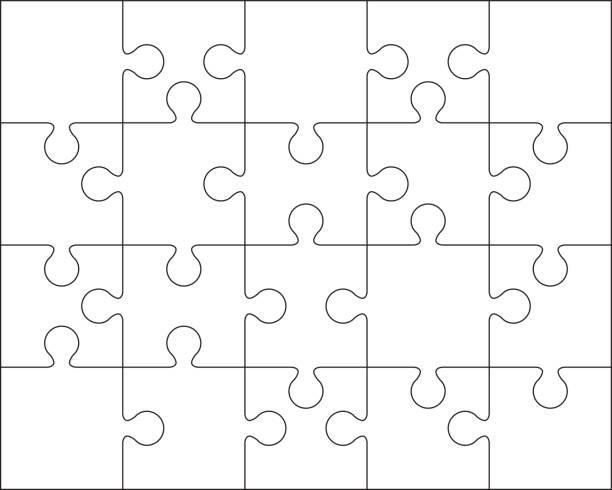 20 のジグソー パズルの空白のテンプレートまたは切断のガイドライン - パズル点のイラスト素材/クリップアート素材/マンガ素材/アイコン素材