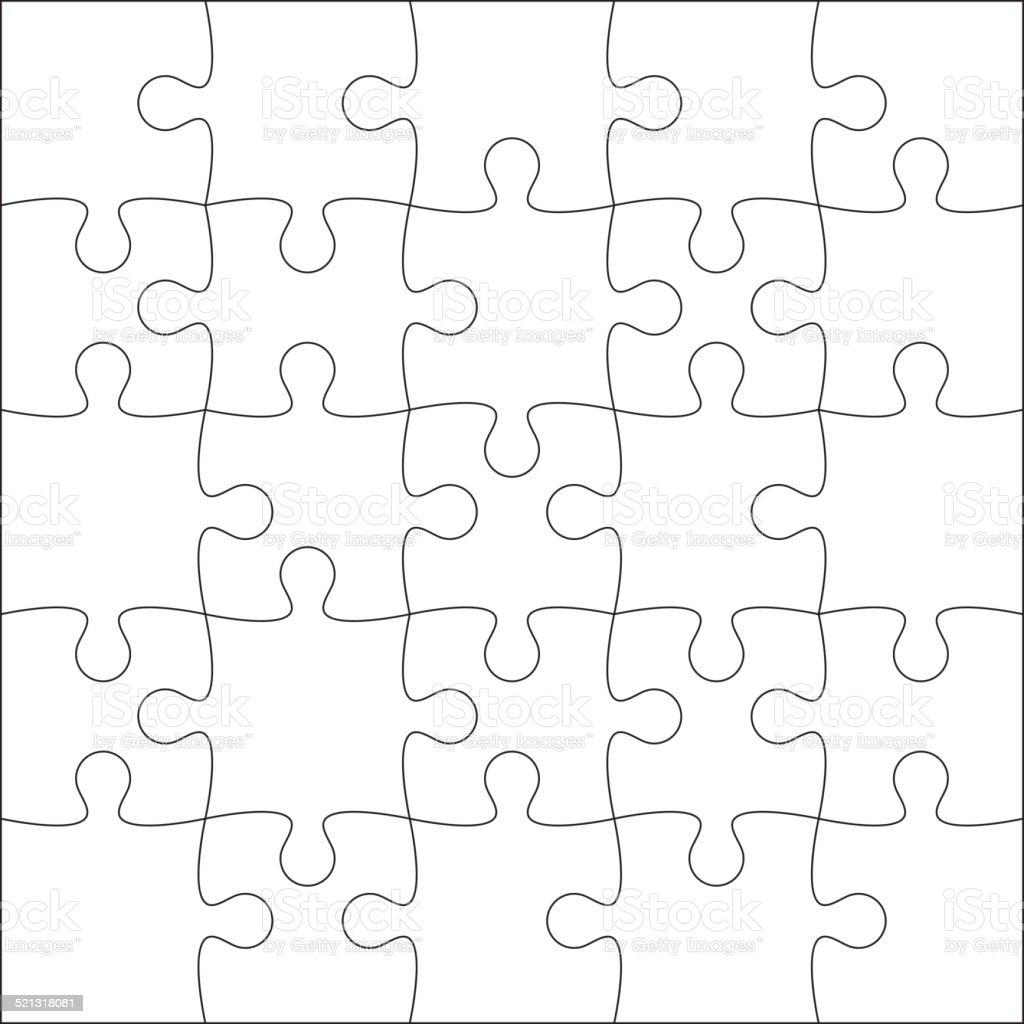 Jigsaw puzzle blank vector art illustration