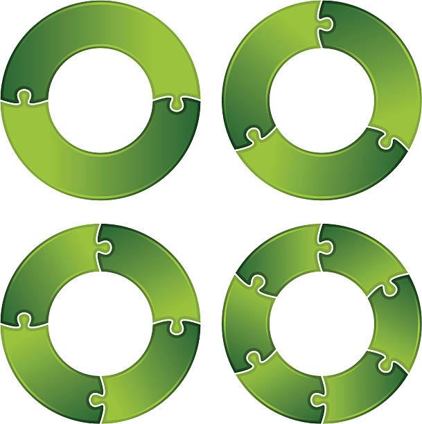 Jigsaw puzzle circles vector art illustration