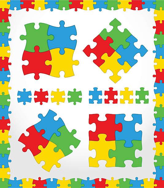 puzzle farbe set - palettenbilderrahmen stock-grafiken, -clipart, -cartoons und -symbole