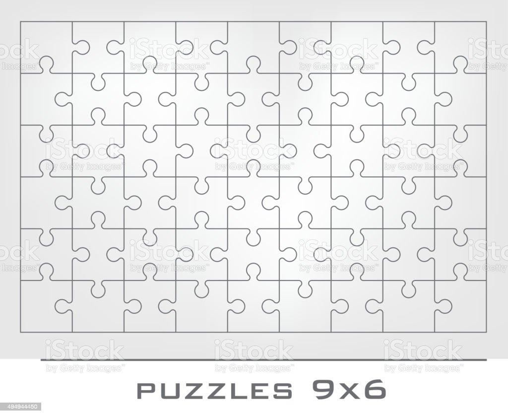 Jigsaw puzzle frame vector art illustration