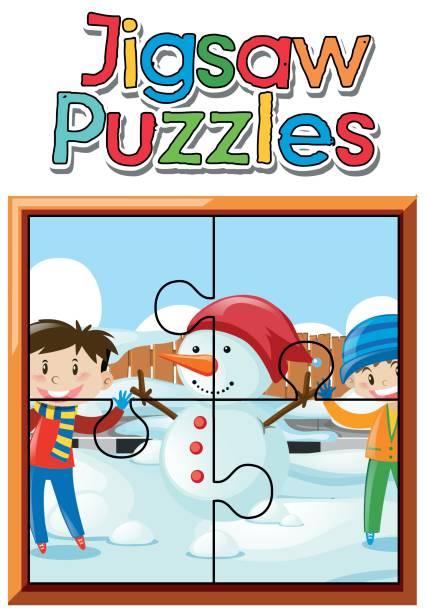 puzzle-spiel mit jungen und schneemann - paphos stock-grafiken, -clipart, -cartoons und -symbole