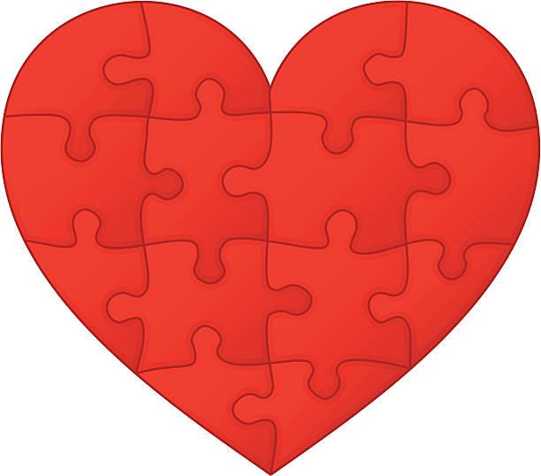 Jigsaw puzzle heart vector art illustration