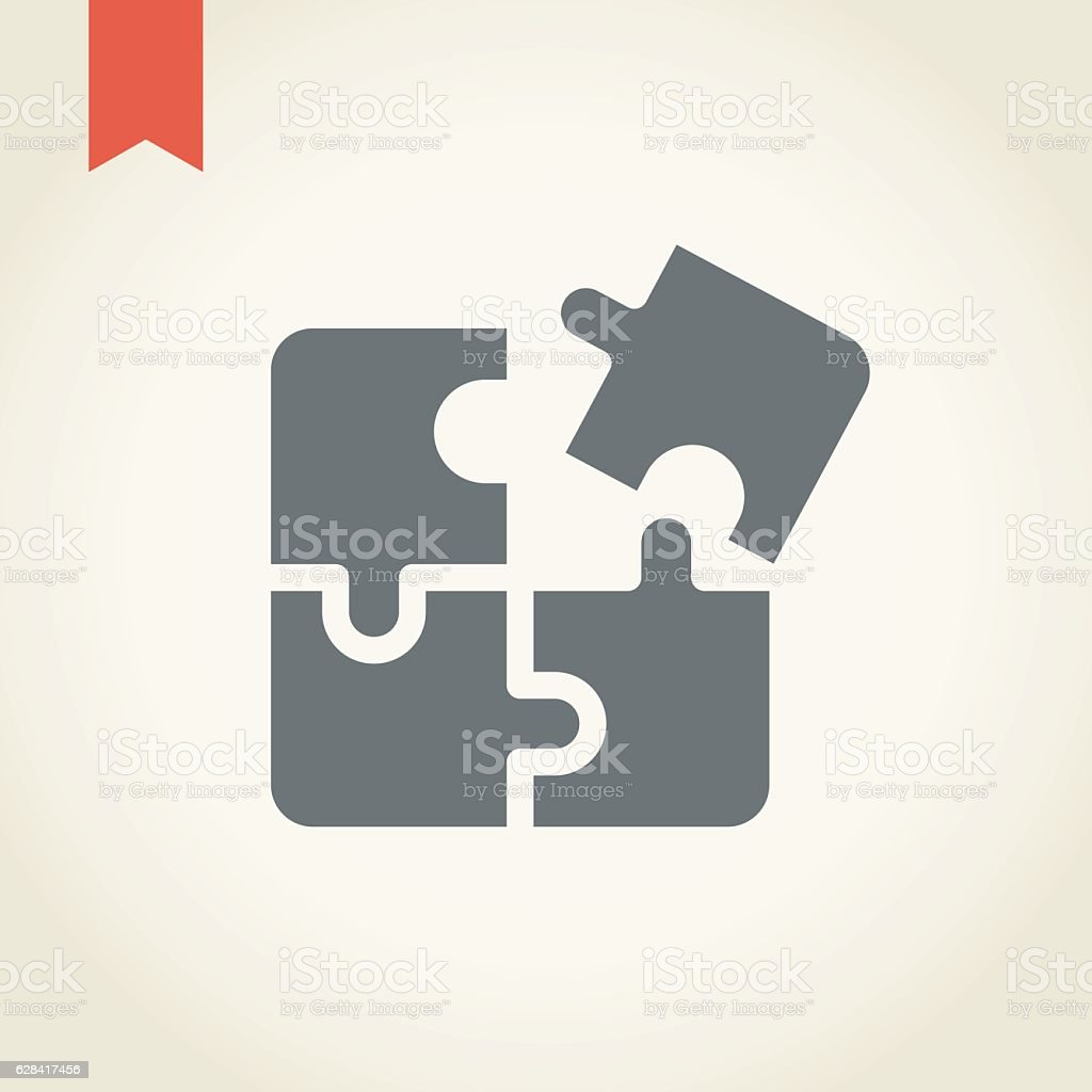 Jigsaw puzzle icon vector art illustration