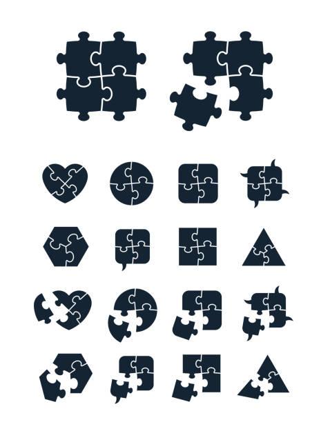 jigsaw puzzle symbolsammlung - puzzle stock-grafiken, -clipart, -cartoons und -symbole