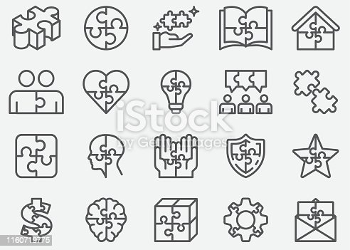 Jigsaw Puzzle Line Icons