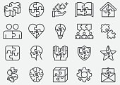 istock Jigsaw Puzzle Line Icons 1160719775