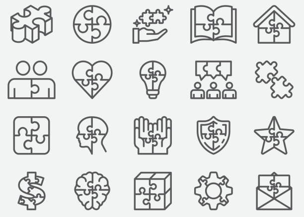 bildbanksillustrationer, clip art samt tecknat material och ikoner med pussel linje ikoner - puzzle