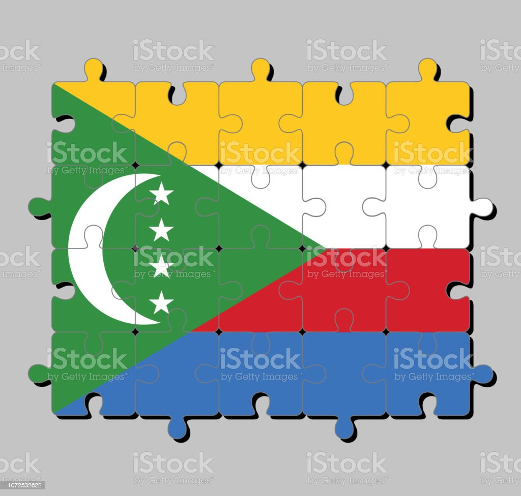 Puzzle De Drapeau Comores En Jaune Rouge Blanc Et Bleu Avec