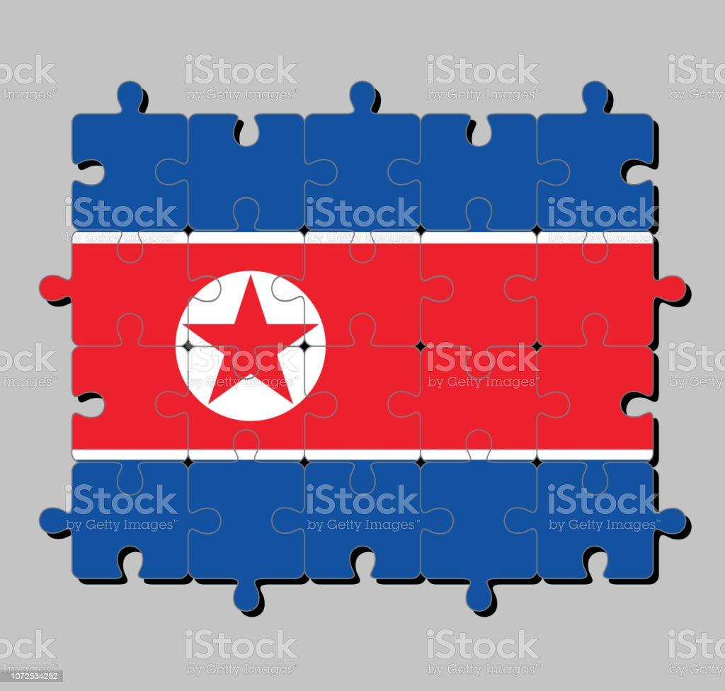 Puzzle De Drapeau De La Corée Du Nord En Horizontale Rouge