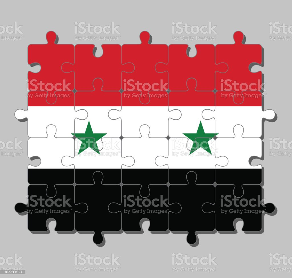 Jigsaw Puzzle Of Syrian Arab Republic Flag In A Horizontal Tricolor